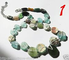 Silver 925 Necklace Ancient Aqua Green Round Roman Glass Bead Beads 100 BC VTG S