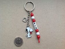 GIFT FOR MUM, MUMMY, BEST MUM or ANY NAME Handmade Snoopy keyring, Mother's Day.