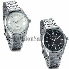 Men's Business Stainless Steel Band Roman Numerals Luminous Quartz Wrist Watch