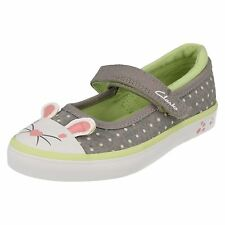 Girls Clarks Doodles Gracie Tale Inf Grey Canvas Mary Jane Strap Pumps