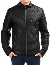 Men's Faux leather Jacket Pilot's zipper Biker Quilted Black