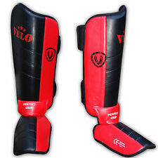 VELO Shin Instep Foot Pads MMA UFC Leg Kick Guards Muay Thai Boxing Training RB