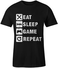 Eat Sleep Game Repeat Gaming Gamer Tee T-Shirt Xbox Playstation Unisex