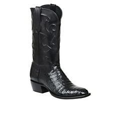 "Lucchese M1636 14 ""Charles"" Mens Black Caiman Crocodile Belly Boots"