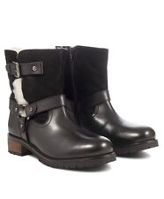 Redfoot Women's UK 4 & 5 Jolie Black Warm Lined Leather/Suede Biker Ankle Boots