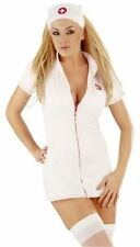 Ladies Womens Nurse Fancy Dress Outfit Costume Zip Up White Red Sexy Adult