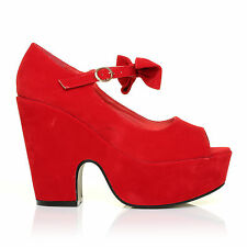 BOWIE Red Faux Suede Cut Out Peep Toe Platform Wedges with Ankle Strap Bow
