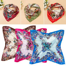 Women Fashion Flower Square Scarf Imitated Silk Satin Head Neck Shawl 90 X 90cm