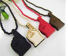 1pc New Hip-Hop Thumb Pendants Wood Rosary Bead Necklaces High Quality 4 Colors