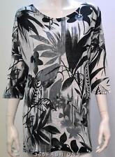 MARINA KANEVA PLUS SIZE FLORAL LEAF OVERSIZE TUNIC TOP GREY 22/24 26/28 30/32