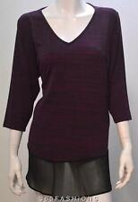 MARINA KANEVA PLUS SIZE V NECK SPACE DYE CHIFFON HEM TOP PURPLE 26/28 30/32