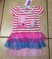 NWT Girls Peppa Pig & George Rugby Strips 3 Colors Tulle Party Dress Sizes 2T-6T