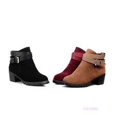 Hot Womens Girls Ankle Buckle Strappy Boots Med Heels Shoes AU All Size Y1443