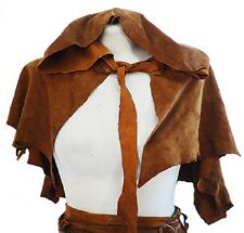 Medieval-SCA-Larp-Re enactment-Pagan-SOFT LEATHER LARP HOODED CAPE One Size