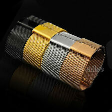 New 22/24mm Solid Stainless Steel Shark Mesh Watch Band Deployment Buckle
