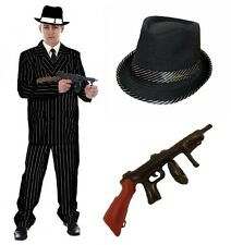 Mens Gangster 1920 30's Pin Stripe Suit Fancy Dress Godfather Costume Mafia Hat