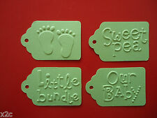 10 Kraft Mint Green Gift Swing Tags Embossed Bomboniere Favour Baby Shower