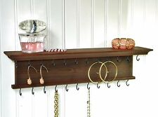 """Jewelry Organizer Necklace Bracelet Holder Rustic Wall Mounted Chestnut 18"""""""
