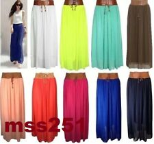 New Ladies Women's Chiffon Long Maxi Skirt With Belted Waist Size UK 10 12 14 16