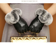 Women Winter Wrist 360° Smart Touch Screen Gloves Genuine Leather Rex Rabbit Fur