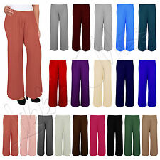 Womens Baggy Flared Trousers Ladies Wide Legged Stretch fit Summer Palazzo Pants