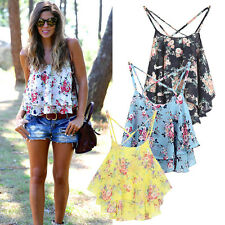Women Summer Casual Strap Floral Shirts Chiffon Loose Vest Tank Tops Blouse