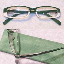 +0.75 - +5.00 Green & White Calabria Reading Glasses Spring Temple Hinges CASE