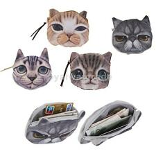 Fashion Kid Cute Cat Face Zipper Case Coin Womens Purse Wallet Makeup Bag Pouch
