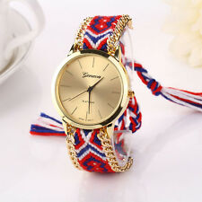 Retro Womens Watches Knitted Braided Weaved Rope Band Quartz Bracelet Wristwatch