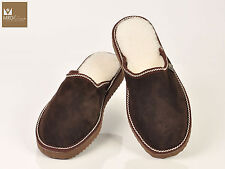 Brown mens fur sheepskin mule slippers. Suede leather and merinos wool.