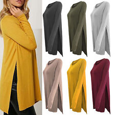 Womens High Slit Side Long Sleeve Tops Split Tunic Jumper Pullover Loose Blouse
