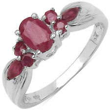 Gorgeous 1.10 CTW Genuine Natural Ruby .925 Sterling Silver Ring