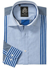 ENGLISH LAUNDRY M Medium Gray Blue Mens Multi Stripe Button Dress Shirt HIGH END