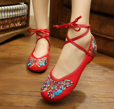 Women Shoes Chinese Style Casual Flat Shoes Retro Soft Sole Walking Cloth Shoes