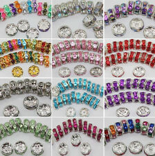 New  Wholesale 50/100Pcs Cute Silver Plated Crystal DIY Round Spacer 8MM Beads