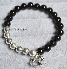 Hand Crafted Bracelet Crystal Beads Silver Onyx Beads Rocking Horse Charm 8mm