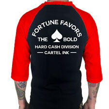 Men's Cartel Ink Fortune Favors the Bold Baseball T-Shirt Black/Red