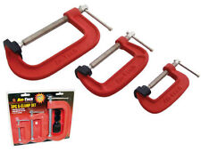 """HEAVY DUTY G-CLAMP SET 2"""" 3"""" & 4"""" c/w SOFT JAW PADS 50mm 75mm 100mm G CLAMPS"""