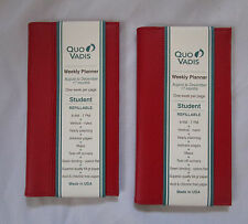"2 Quo Vadis Leather Cover Weekly Planner Student or any Planner 3 1/2"" x 6 1/4"""
