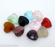 Wholesale Lots Mixed Crystal Glass Faceted Heart Charm Beads Pendants 10mmx10mm