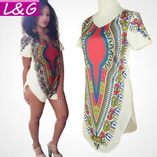 Women Traditional African Print Dashiki Party Dresses Short Sleeve Plus size