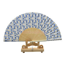 Chinese Japanese Wedding Silk Bamboo Hand Folding Fan with ceramic Accessory NEW