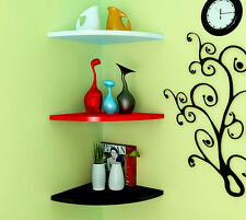 Corner Wall Mounted Floating Shelves Wooden Book Shelf Storage Display Home