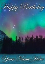 Northern Lights PIDNOL2  All Occasions Personalised Greeting Card Birthday