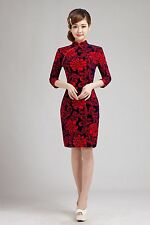 Sexy Classical elegant Chinese women's mini Qipao evening dress Peony Cheongsam