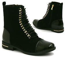 WOMENS BLACK MILITARY LACE UP GOLD TRIM BIKER ANKLE BOOTS SHOES SIZE