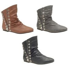 New Womens Flat Heel Ankle Boots with Side Zip detail in size 3-8