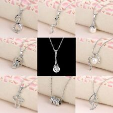 Wedding White Gold Filled Mini Crystal Pearl Animal Pendant Necklace Women Gift