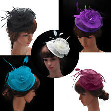 Sexy Lady Girl Sinamay Fascinator Hat Feather Cocktail For Party Church Wedding