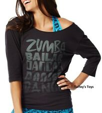 Zumba - Dance 3/4 Long Sleeve Tee - Black - sz XS, S, M, L ~ New~Free Ship